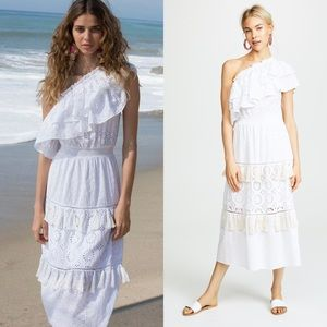 Misa Los Angeles Dresses - MISA Clea One Shoulder Eyelet Tassel Crochet Dress
